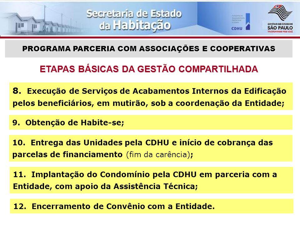 ETAPAS BÁSICAS DA GESTÃO COMPARTILHADA PROGRAMA PARCERIA COM ASSOCIAÇÕES E COOPERATIVAS 9.