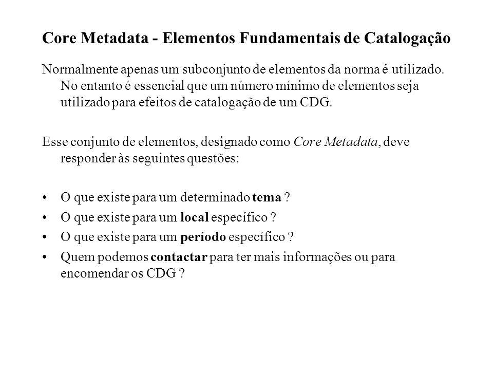 Core Metadata - Elementos Fundamentais de Catalogação Normalmente apenas um subconjunto de elementos da norma é utilizado.