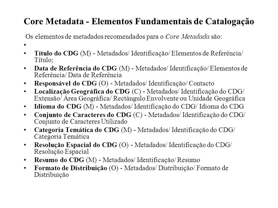 Core Metadata - Elementos Fundamentais de Catalogação Os elementos de metadados recomendados para o Core Metadada são: Título do CDG (M) - Metadados/ Identificação/ Elementos de Referência/ Título; Data de Referência do CDG (M) - Metadados/ Identificação/ Elementos de Referência/ Data de Referência Responsável do CDG (O) - Metadados/ Identificação/ Contacto Localização Geográfica do CDG (C) - Metadados/ Identificação do CDG/ Extensão/ Área Geográfica/ Rectângulo Envolvente ou Unidade Geográfica Idioma do CDG (M) - Metadados/ Identificação do CDG/ Idioma do CDG Conjunto de Caracteres do CDG (C) - Metadados/ Identificação do CDG/ Conjunto de Caracteres Utilizado Categoria Temática do CDG (M) - Metadados/ Identificação do CDG/ Categoria Temática Resolução Espacial do CDG (O) - Metadados/ Identificação do CDG/ Resolução Espacial Resumo do CDG (M) - Metadados/ Identificação/ Resumo Formato de Distribuição (O) - Metadados/ Distribuição/ Formato de Distribuição
