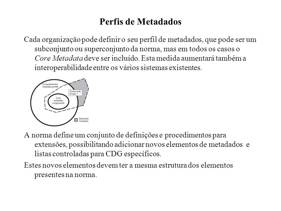 Perfis de Metadados Cada organização pode definir o seu perfil de metadados, que pode ser um subconjunto ou superconjunto da norma, mas em todos os ca