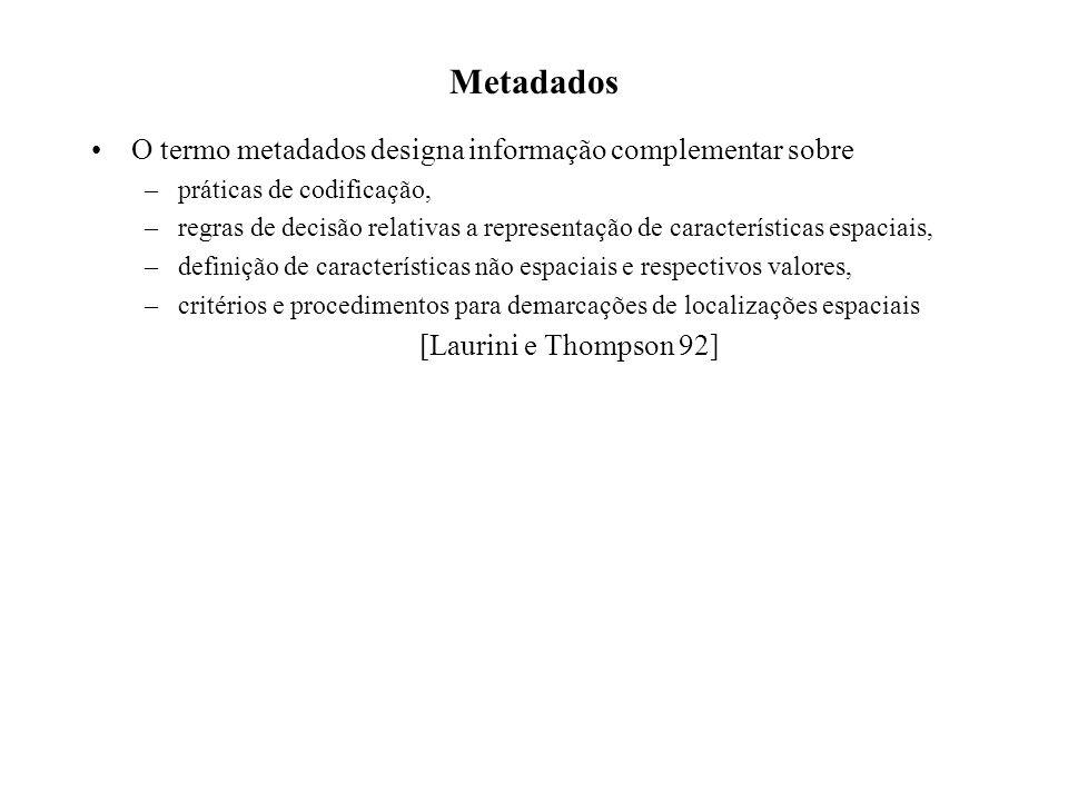 O termo metadados designa informação complementar sobre –práticas de codificação, –regras de decisão relativas a representação de características espaciais, –definição de características não espaciais e respectivos valores, –critérios e procedimentos para demarcações de localizações espaciais [Laurini e Thompson 92]