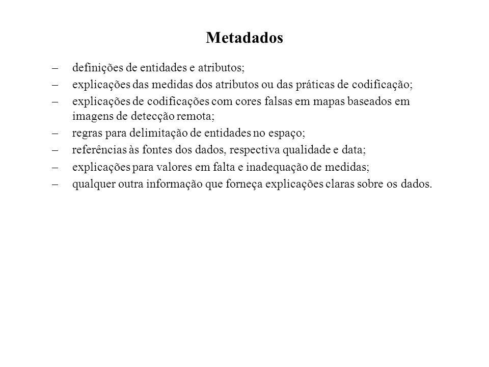 Metadados –definições de entidades e atributos; –explicações das medidas dos atributos ou das práticas de codificação; –explicações de codificações co