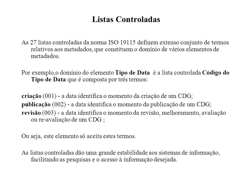 Listas Controladas As 27 listas controladas da norma ISO 19115 definem extenso conjunto de termos relativos aos metadados, que constituem o domínio de vários elementos de metadados.