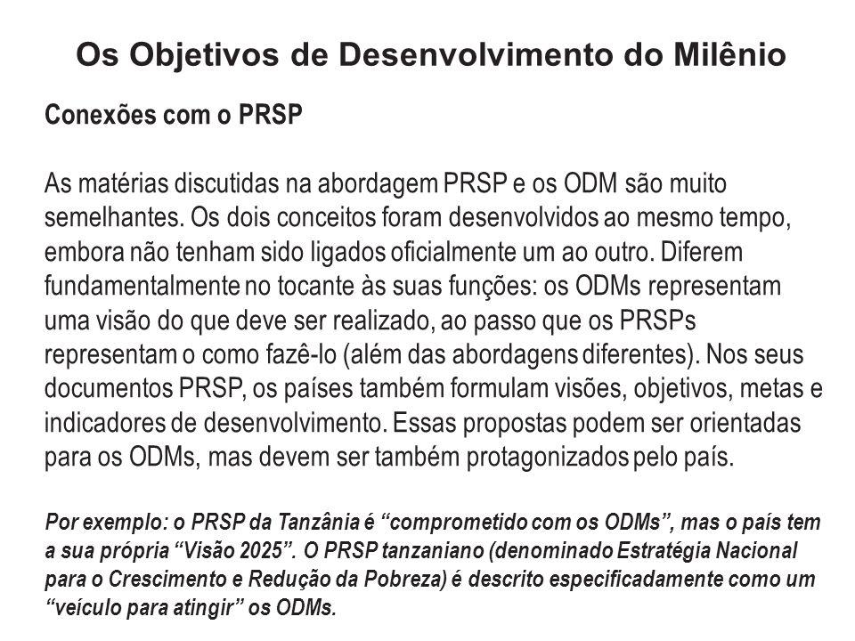 Os Objetivos de Desenvolvimento do Milênio Conexões com o PRSP As matérias discutidas na abordagem PRSP e os ODM são muito semelhantes. Os dois concei