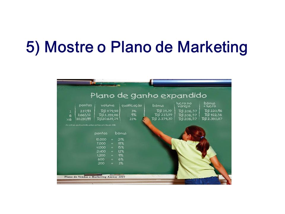 5) Mostre o Plano de Marketing