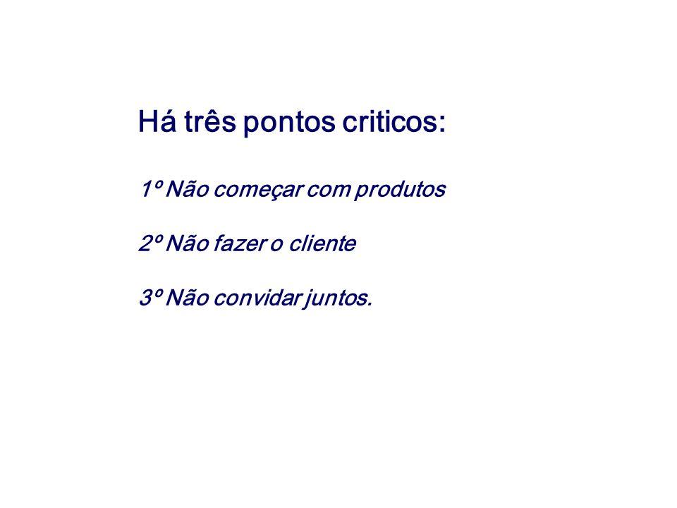 Há três pontos criticos: 1º Não começar com produtos 2º Não fazer o cliente 3º Não convidar juntos.