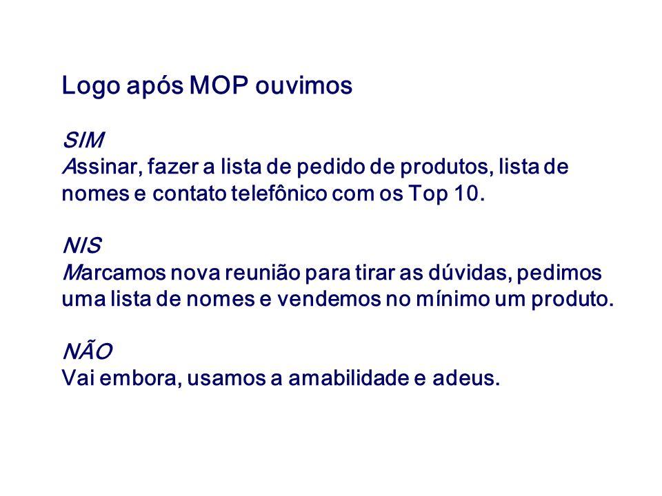 Logo após MOP ouvimos SIM Assinar, fazer a lista de pedido de produtos, lista de nomes e contato telefônico com os Top 10. NIS Marcamos nova reunião p