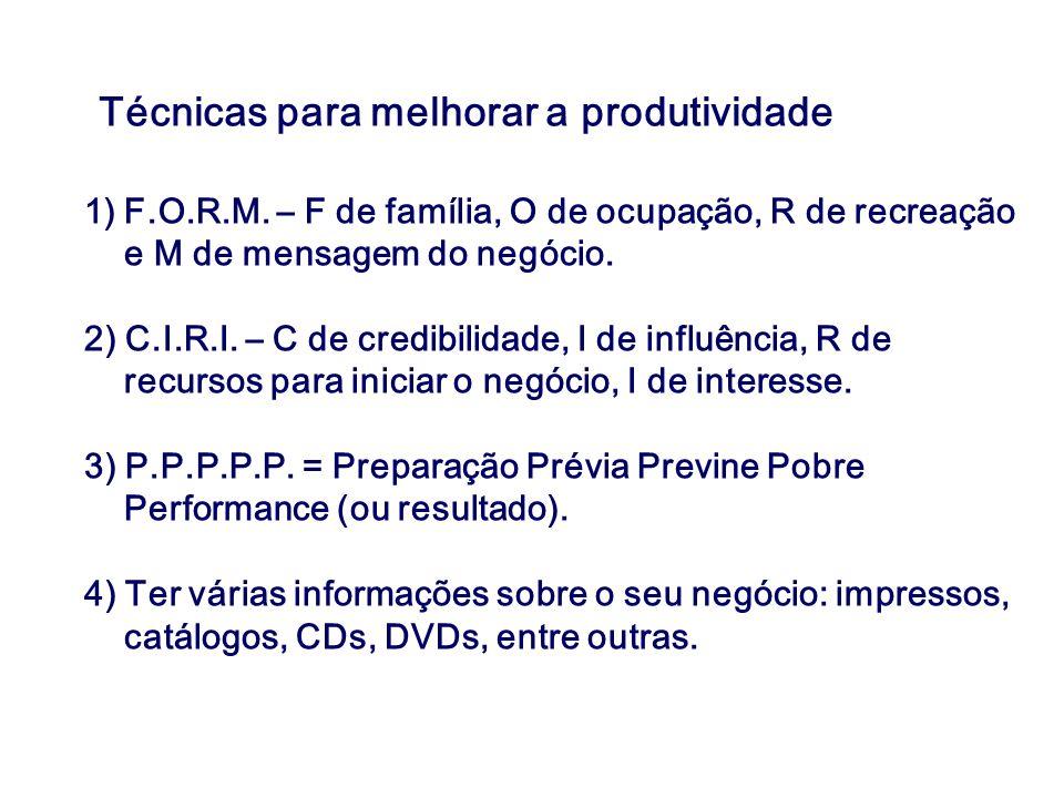 Técnicas para melhorar a produtividade 1)F.O.R.M. – F de família, O de ocupação, R de recreação e M de mensagem do negócio. 2) C.I.R.I. – C de credibi