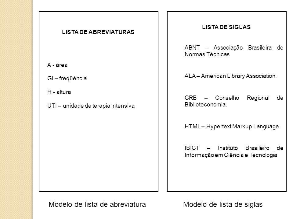 LISTA DE ABREVIATURAS A - área Gi – freqüência H - altura UTI – unidade de terapia intensiva LISTA DE SIGLAS ABNT – Associação Brasileira de Normas Técnicas ALA – American Library Association.