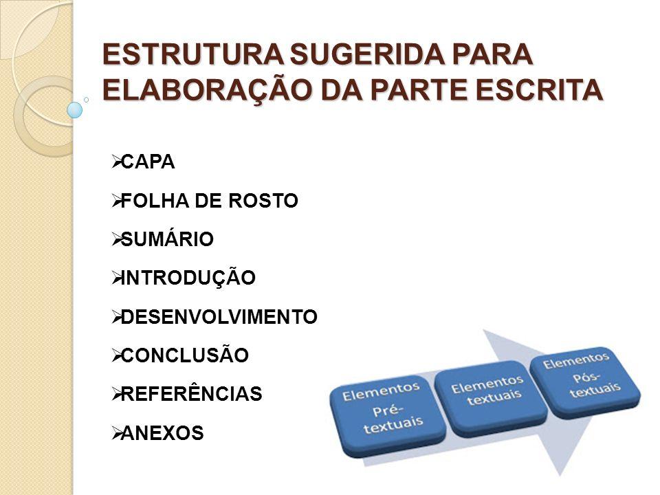 ESTRUTURA SUGERIDA PARA ELABORAÇÃO DA PARTE ESCRITA CAPA FOLHA DE ROSTO SUMÁRIO INTRODUÇÃO DESENVOLVIMENTO CONCLUSÃO REFERÊNCIAS ANEXOS