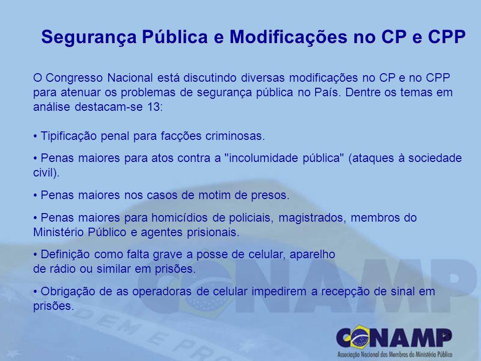 11 Segurança Pública e Modificações no CP e CPP O Congresso Nacional está discutindo diversas modificações no CP e no CPP para atenuar os problemas de segurança pública no País.
