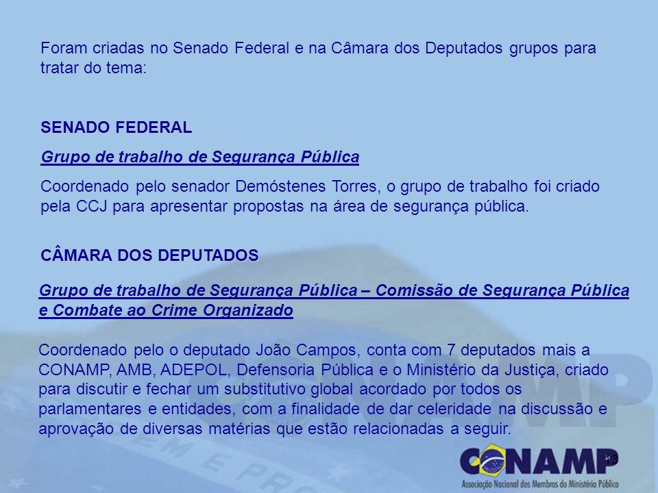 13 Foram criadas no Senado Federal e na Câmara dos Deputados grupos para tratar do tema: SENADO FEDERAL Grupo de trabalho de Segurança Pública Coorden