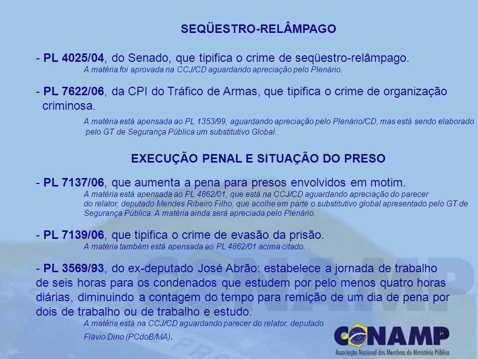 19 SEQÜESTRO-RELÂMPAGO - PL 4025/04, do Senado, que tipifica o crime de seqüestro-relâmpago. A matéria foi aprovada na CCJ/CD aguardando apreciação pe