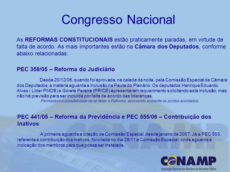 2 Congresso Nacional REFORMAS CONSTITUCIONAIS As REFORMAS CONSTITUCIONAIS estão praticamente paradas, em virtude de falta de acordo. As mais important
