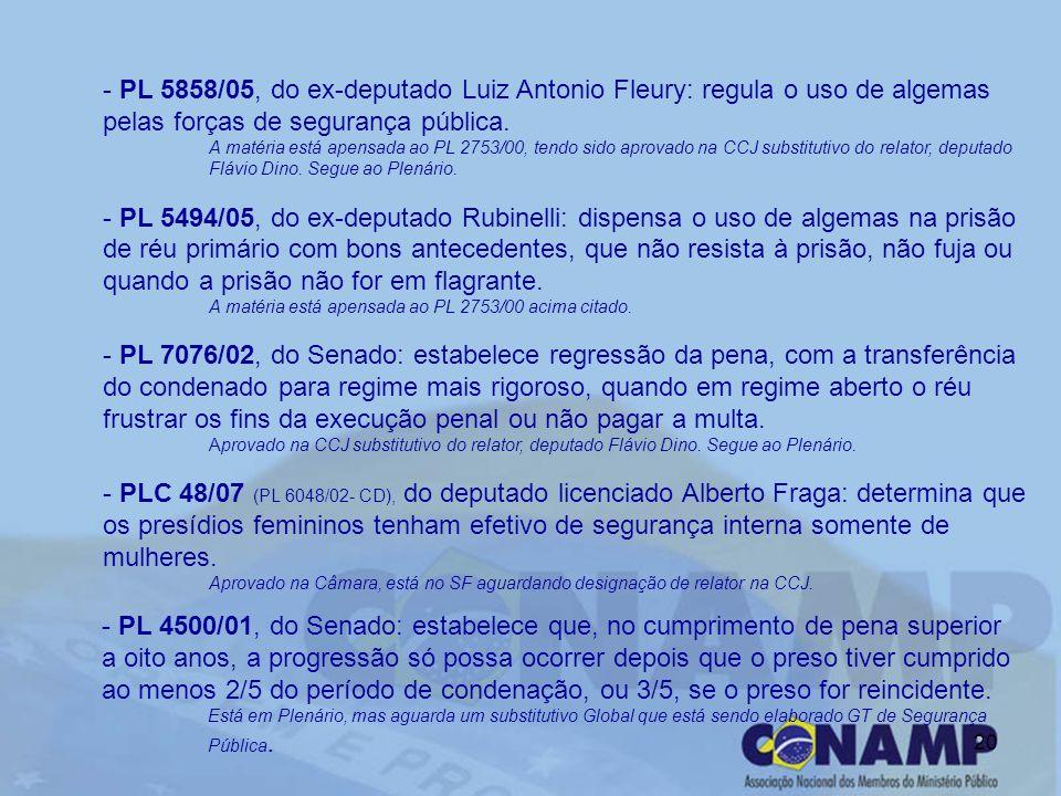 20 - PL 5858/05, do ex-deputado Luiz Antonio Fleury: regula o uso de algemas pelas forças de segurança pública. A matéria está apensada ao PL 2753/00,