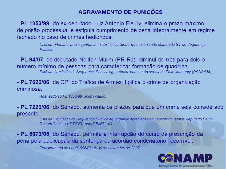 21 AGRAVAMENTO DE PUNIÇÕES - PL 1353/99, do ex-deputado Luiz Antonio Fleury: elimina o prazo máximo de prisão processual e estipula cumprimento de pen