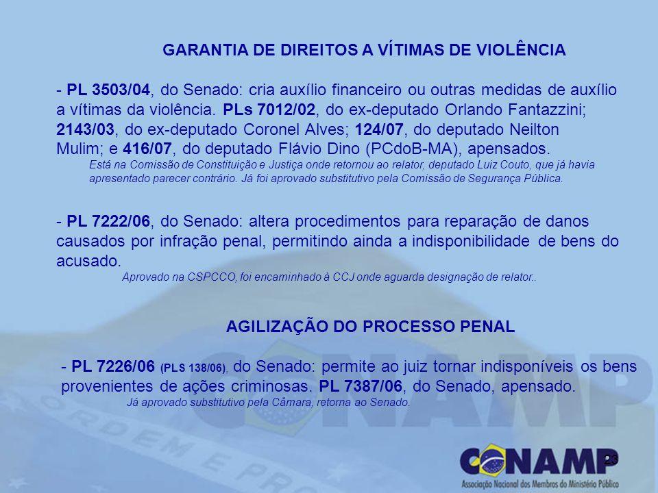 23 GARANTIA DE DIREITOS A VÍTIMAS DE VIOLÊNCIA - PL 3503/04, do Senado: cria auxílio financeiro ou outras medidas de auxílio a vítimas da violência. P