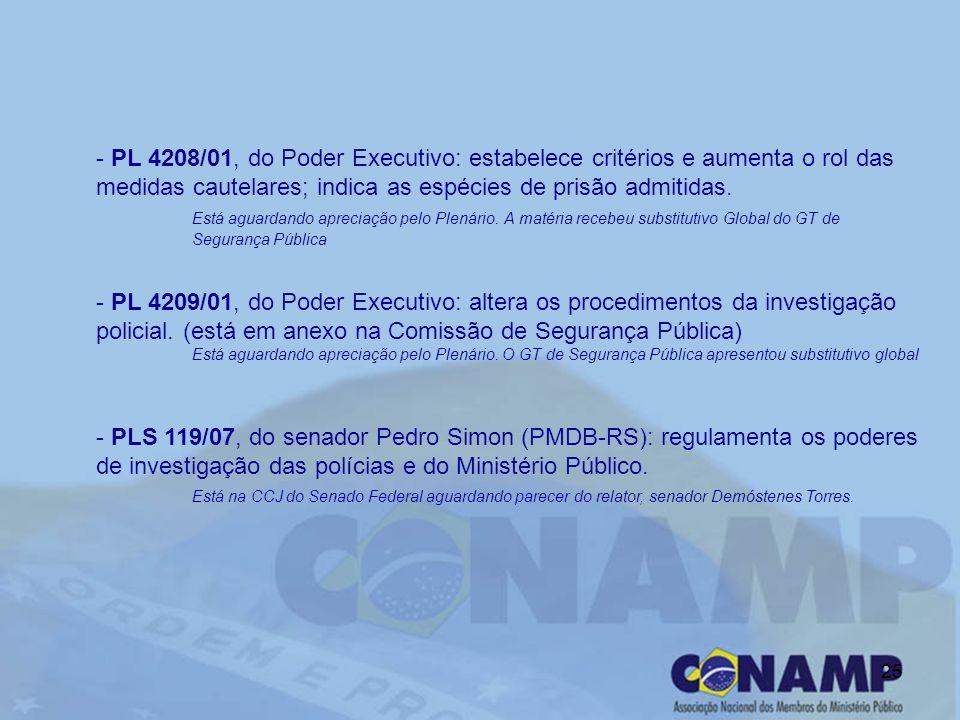 25 - PL 4208/01, do Poder Executivo: estabelece critérios e aumenta o rol das medidas cautelares; indica as espécies de prisão admitidas.