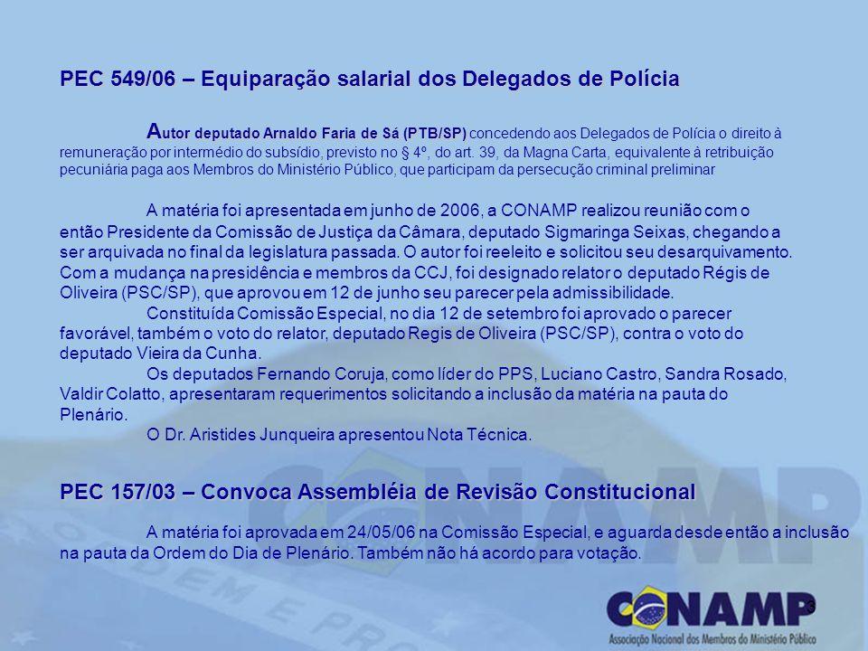 3 PEC 549/06 – Equiparação salarial dos Delegados de Polícia A utor deputado Arnaldo Faria de Sá (PTB/SP) A utor deputado Arnaldo Faria de Sá (PTB/SP)