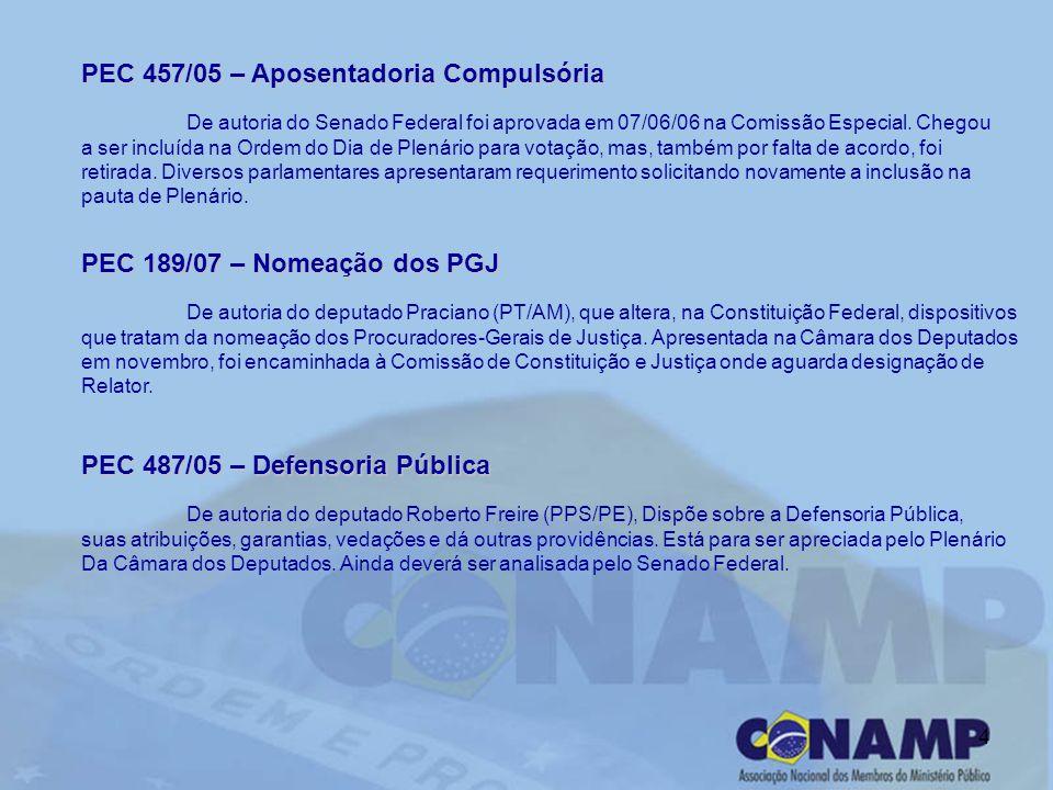 4 PEC 457/05 – Aposentadoria Compulsória De autoria do Senado Federal foi aprovada em 07/06/06 na Comissão Especial. Chegou a ser incluída na Ordem do