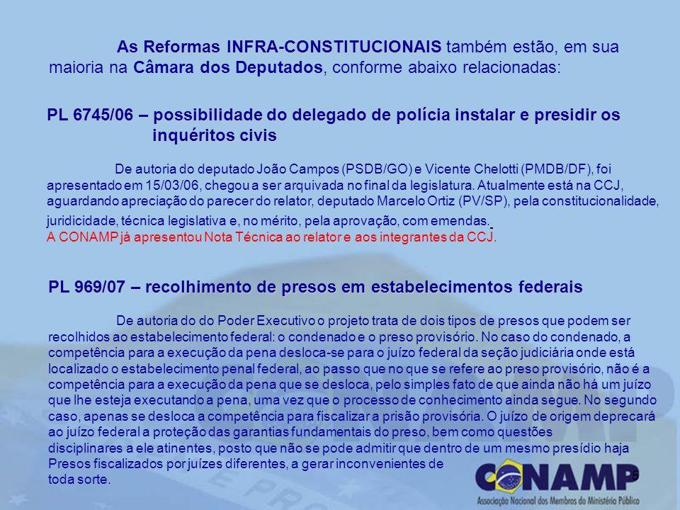 5 As Reformas INFRA-CONSTITUCIONAIS As Reformas INFRA-CONSTITUCIONAIS também estão, em sua maioria na Câmara dos Deputados, conforme abaixo relacionadas: PL 6745/06 – possibilidade do delegado de polícia instalar e presidir os inquéritoscivis inquéritos civis De autoria do deputado João Campos (PSDB/GO) e Vicente Chelotti (PMDB/DF), foi apresentado em 15/03/06, chegou a ser arquivada no final da legislatura.