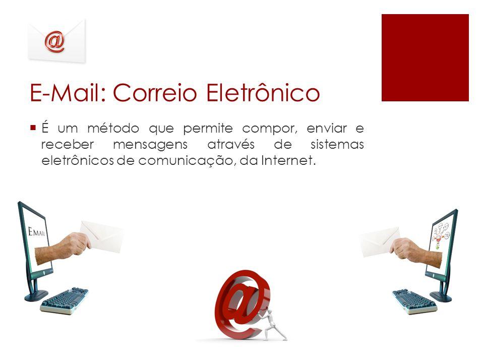 E-Mail: Correio Eletrônico É um método que permite compor, enviar e receber mensagens através de sistemas eletrônicos de comunicação, da Internet.