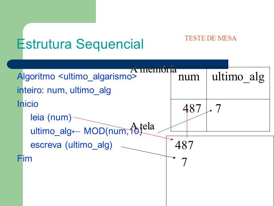 Algoritmo inteiro: num, ultimo_alg Inicio leia (num) ultimo_alg MOD(num,10) escreva (ultimo_alg) Fim Estrutura Sequencial A memória A memória A tela A