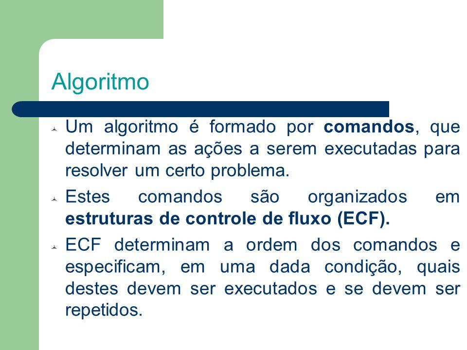 Algoritmo Um algoritmo é formado por comandos, que determinam as ações a serem executadas para resolver um certo problema. Estes comandos são organiza