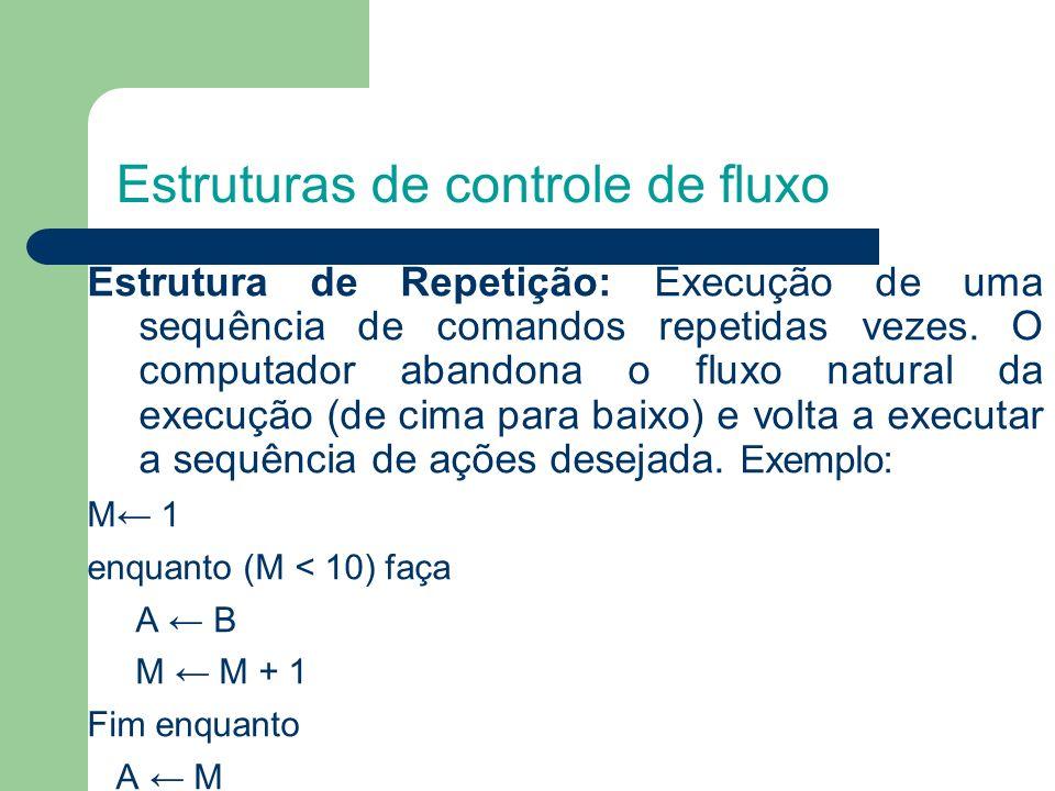 Estruturas de controle de fluxo Estrutura de Repetição: Execução de uma sequência de comandos repetidas vezes. O computador abandona o fluxo natural d