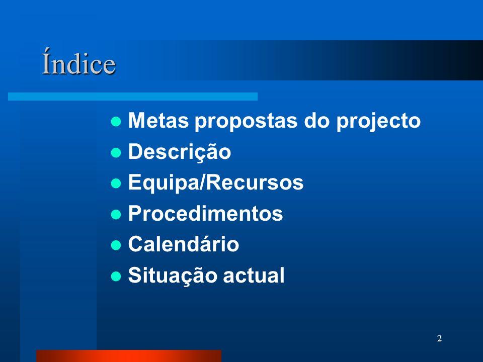2 Índice Metas propostas do projecto Descrição Equipa/Recursos Procedimentos Calendário Situação actual