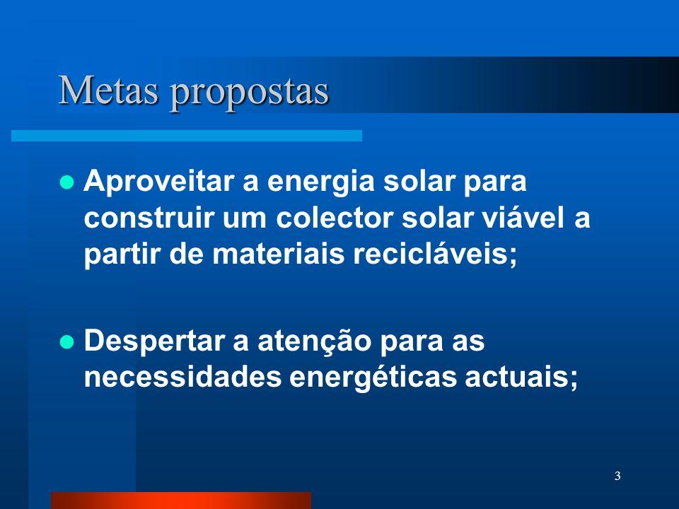 3 Metas propostas Aproveitar a energia solar para construir um colector solar viável a partir de materiais recicláveis; Despertar a atenção para as necessidades energéticas actuais;
