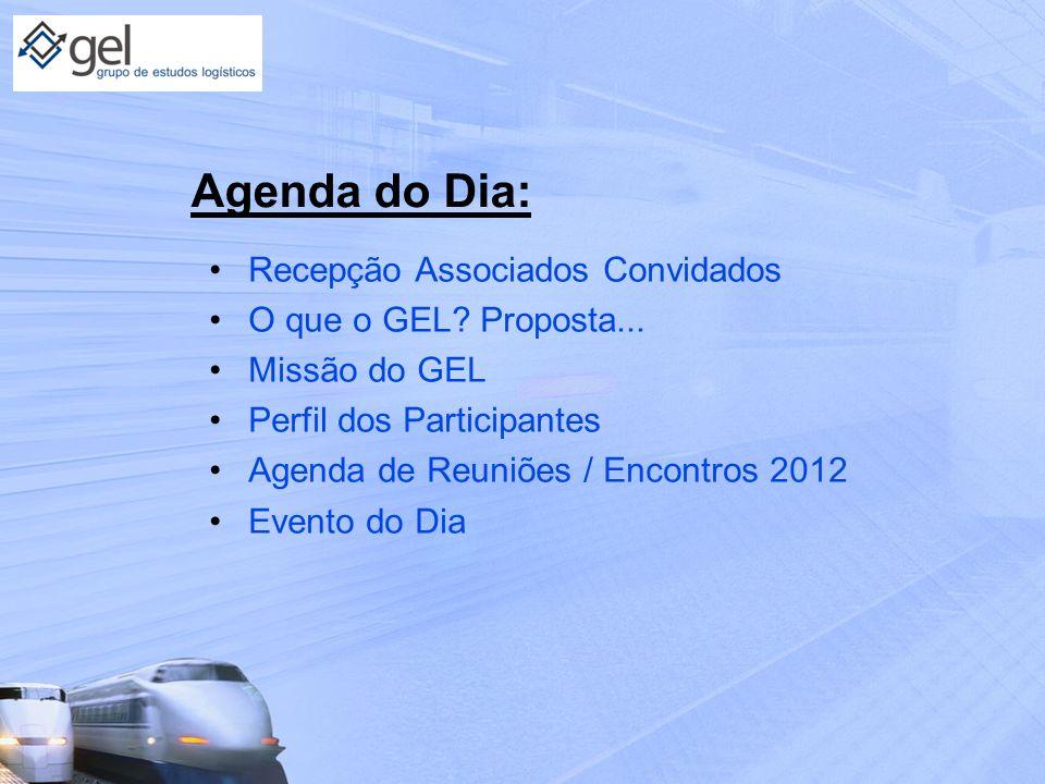 Agenda do Dia: Recepção Associados Convidados O que o GEL? Proposta... Missão do GEL Perfil dos Participantes Agenda de Reuniões / Encontros 2012 Even