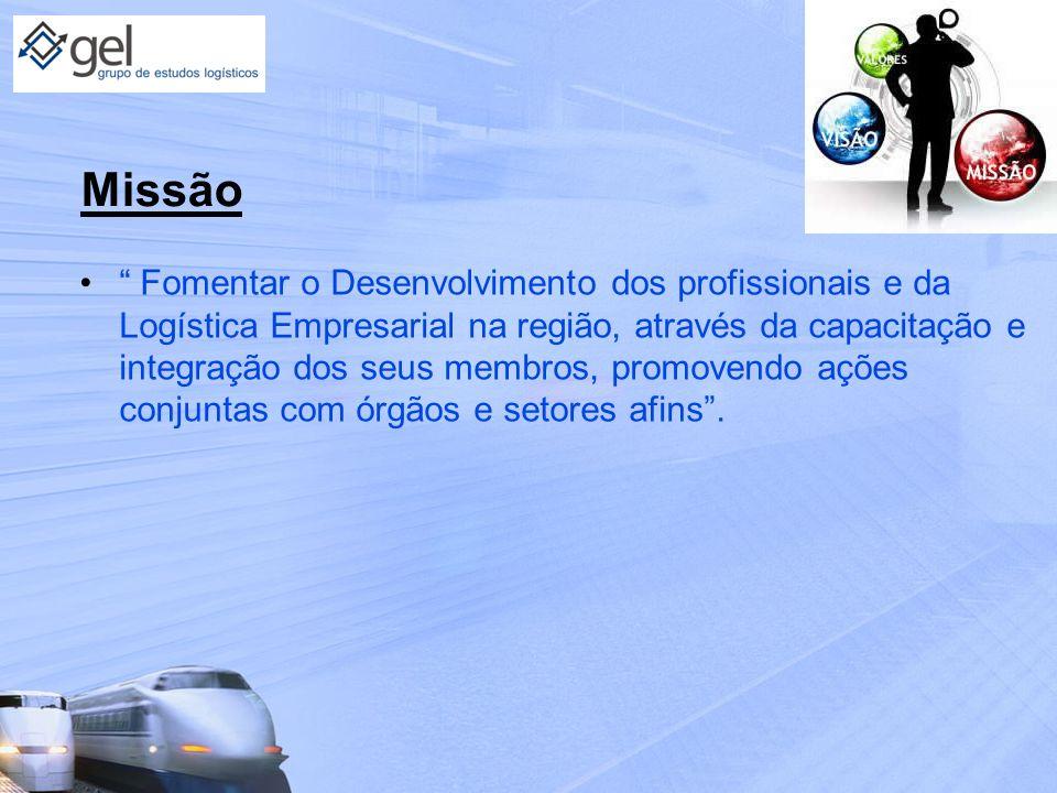 Missão Fomentar o Desenvolvimento dos profissionais e da Logística Empresarial na região, através da capacitação e integração dos seus membros, promov