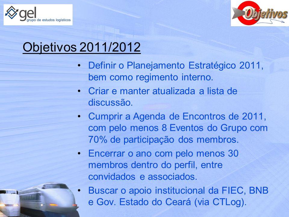 Objetivos 2011/2012 Definir o Planejamento Estratégico 2011, bem como regimento interno. Criar e manter atualizada a lista de discussão. Cumprir a Age