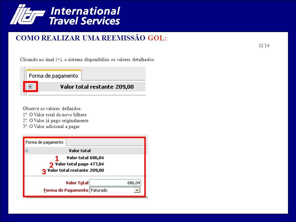 COMO REALIZAR UMA REEMISSÃO GOL: Clicando no sinal (+), o sistema disponibiliza os valores detalhados. Observe os valores definidos: 1º. O Valor total