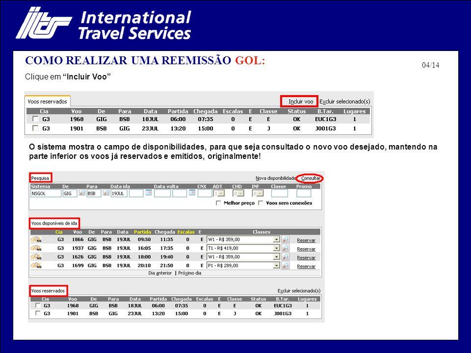 COMO REALIZAR UMA REEMISSÃO GOL: Após a escolha do novo voo, o sistema altera o status da reserva para: Parcialmente Pago Junto com os voos originais, o novo voo já aparece inserido: 05/14