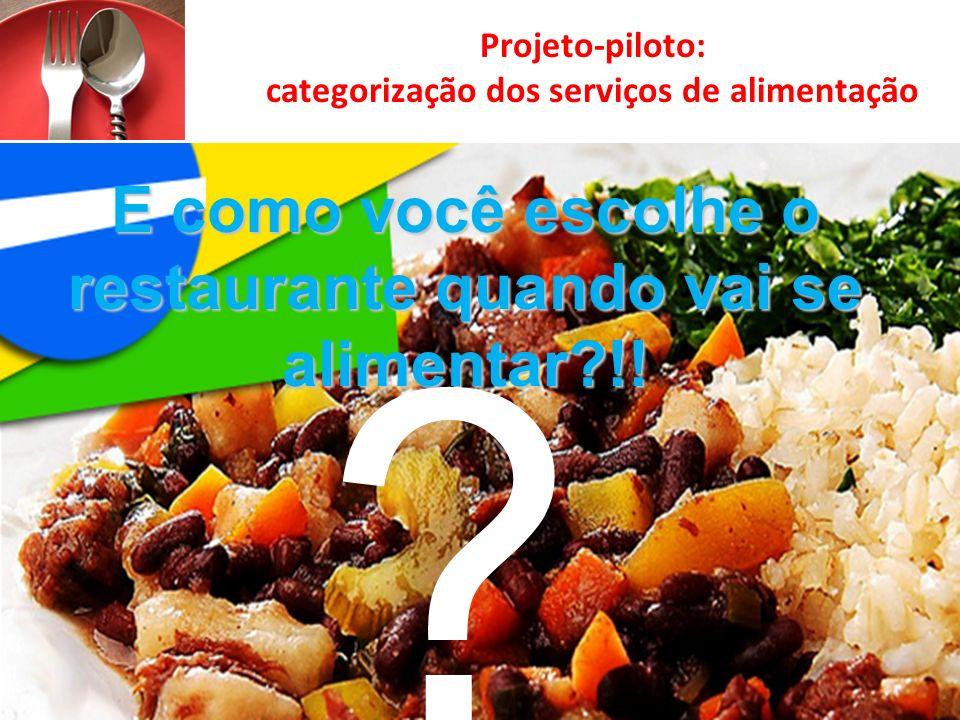 Projeto-piloto: categorização dos serviços de alimentação E como você escolhe o restaurante quando vai se alimentar?!! ?