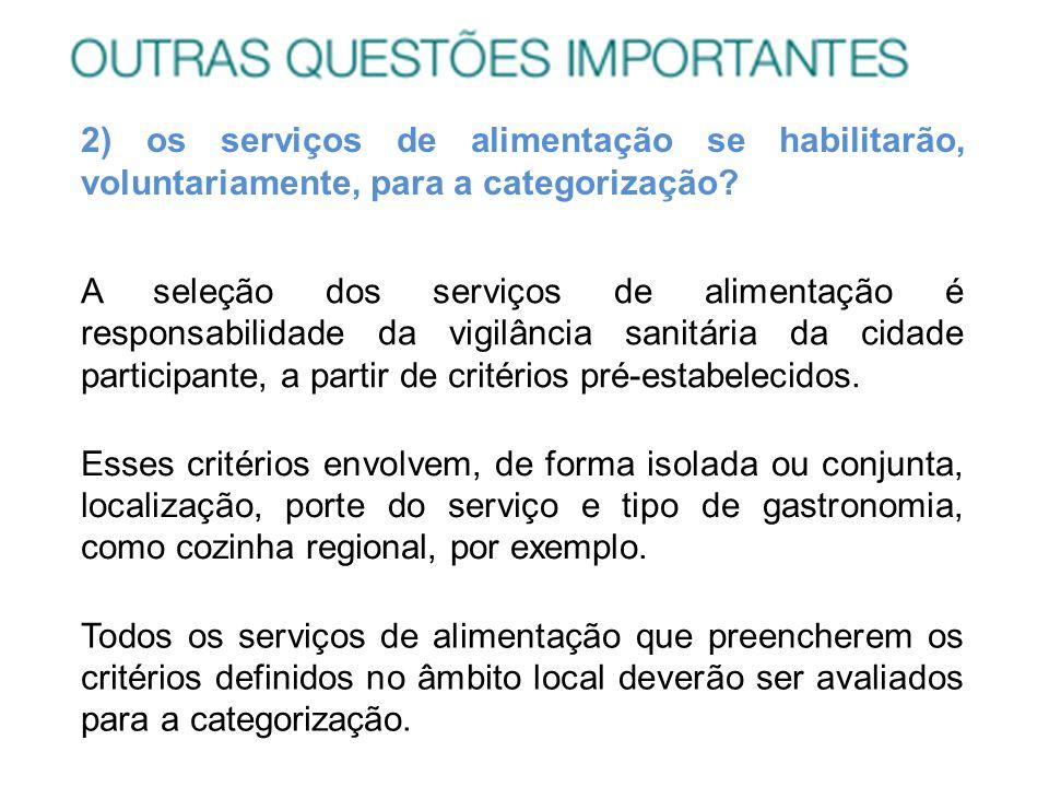 2) os serviços de alimentação se habilitarão, voluntariamente, para a categorização? A seleção dos serviços de alimentação é responsabilidade da vigil