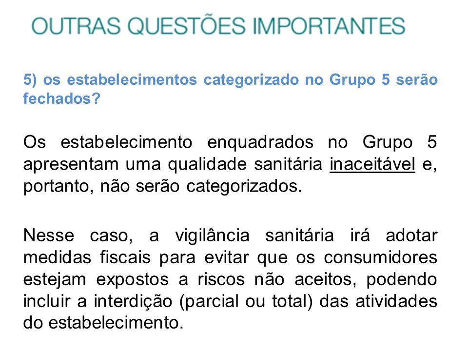 5) os estabelecimentos categorizado no Grupo 5 serão fechados? Os estabelecimento enquadrados no Grupo 5 apresentam uma qualidade sanitária inaceitáve