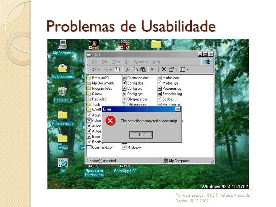 Problemas de Usabilidade Por que estudar IHC ? Heloísa Vieira da Rocha - IHC 2002