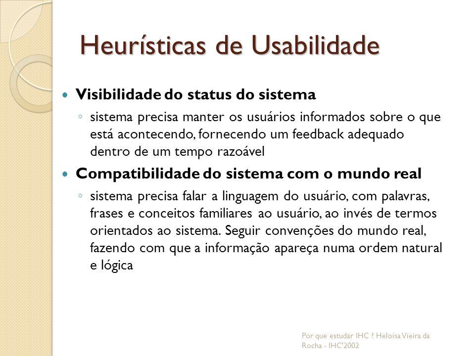 Consistência e padrão; prevenção de erros