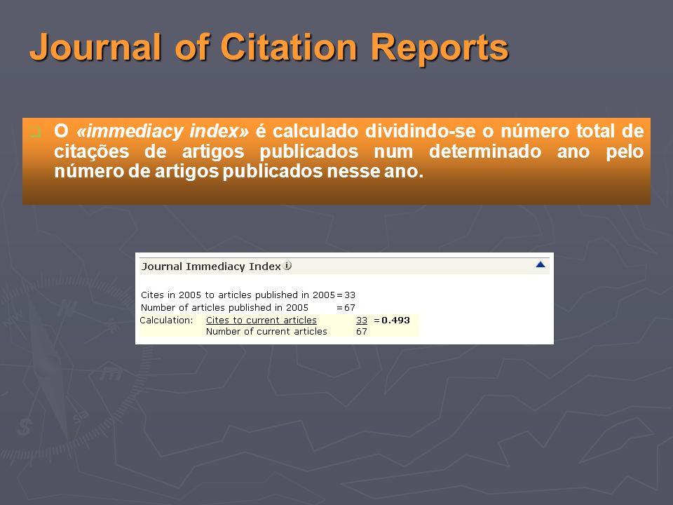 Journal of Citation Reports O «immediacy index» é calculado dividindo-se o número total de citações de artigos publicados num determinado ano pelo número de artigos publicados nesse ano.