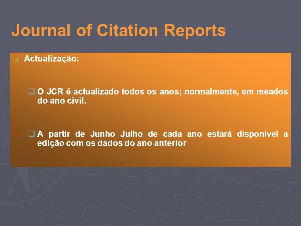 Actualização: O JCR é actualizado todos os anos; normalmente, em meados do ano civil.