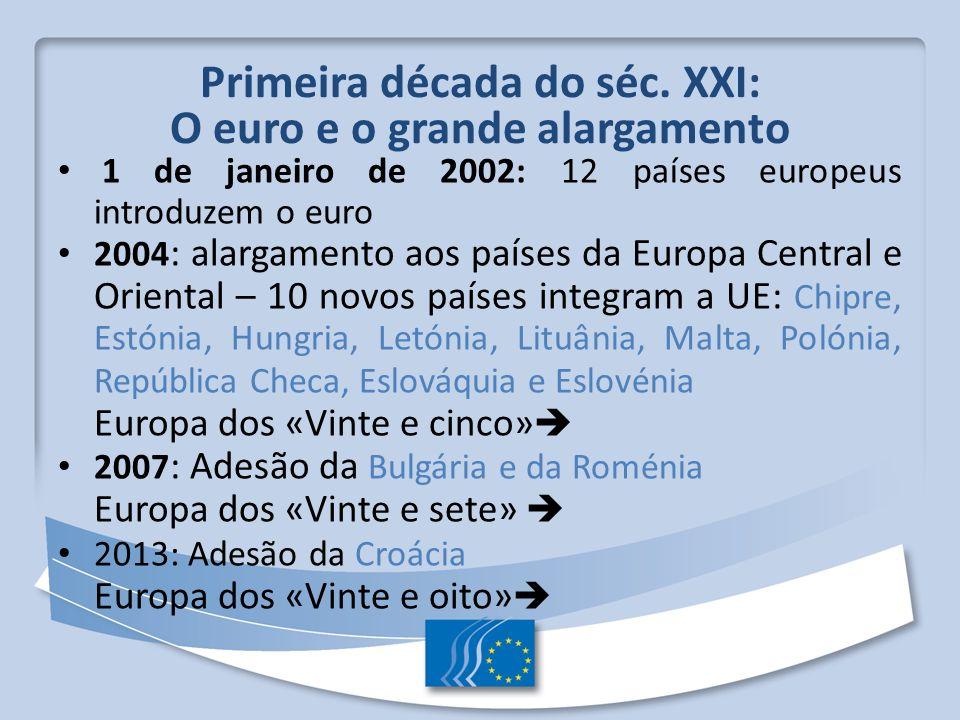 Primeira década do séc. XXI: O euro e o grande alargamento 1 de janeiro de 2002: 12 países europeus introduzem o euro 2004 : alargamento aos países da