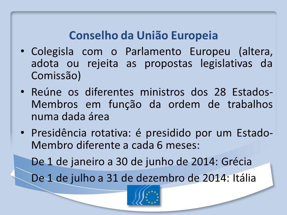 Conselho da União Europeia Colegisla com o Parlamento Europeu (altera, adota ou rejeita as propostas legislativas da Comissão) Reúne os diferentes min