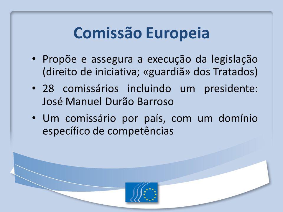 Comissão Europeia Propõe e assegura a execução da legislação (direito de iniciativa; «guardiã» dos Tratados) 28 comissários incluindo um presidente: J