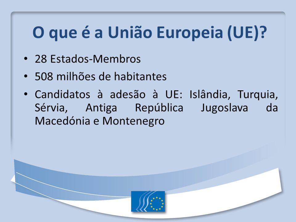 O que é a União Europeia (UE)? 28 Estados-Membros 508 milhões de habitantes Candidatos à adesão à UE: Islândia, Turquia, Sérvia, Antiga República Jugo