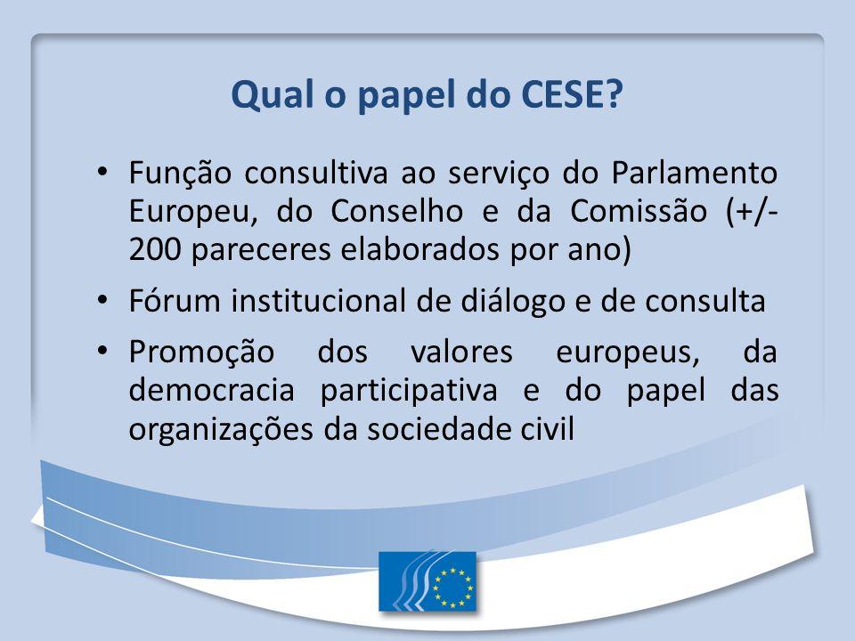 Qual o papel do CESE? Função consultiva ao serviço do Parlamento Europeu, do Conselho e da Comissão (+/- 200 pareceres elaborados por ano) Fórum insti
