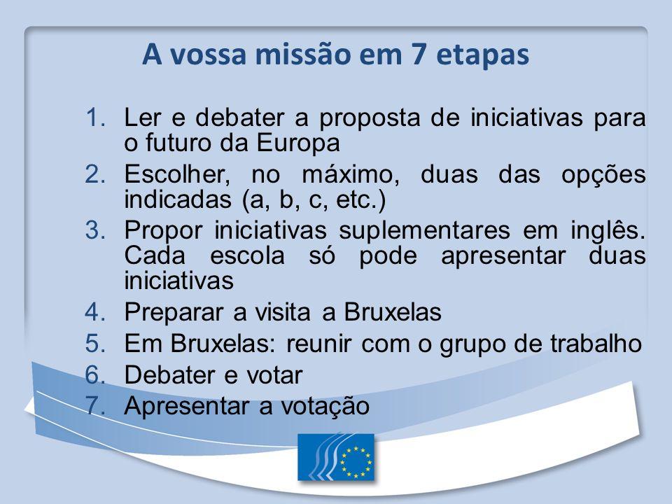 1. Ler e debater a proposta de iniciativas para o futuro da Europa 2. Escolher, no máximo, duas das opções indicadas (a, b, c, etc.) 3. Propor iniciat
