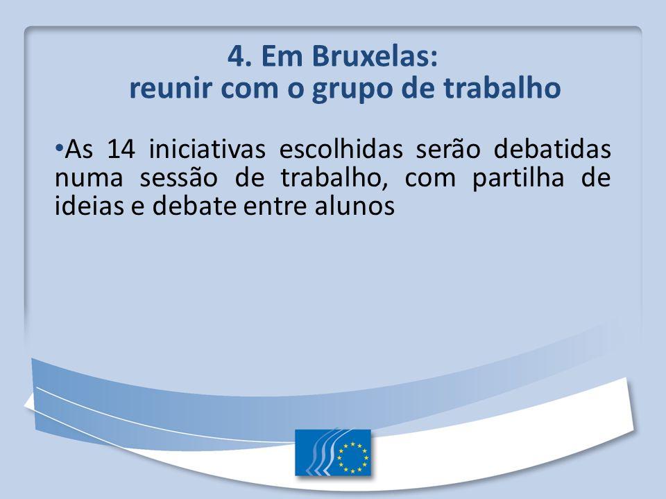4. Em Bruxelas: reunir com o grupo de trabalho As 14 iniciativas escolhidas serão debatidas numa sessão de trabalho, com partilha de ideias e debate e
